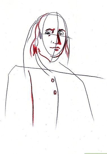 Prent getiteld Teken Benjamin Franklin Stap 5