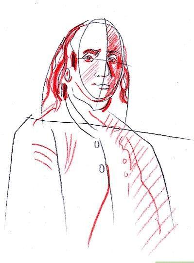 Prent getiteld Teken Benjamin Franklin Stap 6