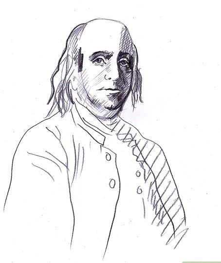 Prent getiteld Teken Benjamin Franklin Stap 7