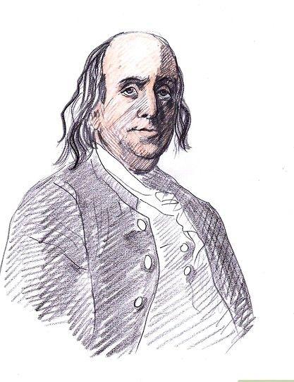 Prent getiteld Teken Benjamin Franklin Stap 8