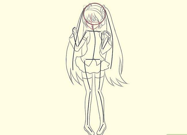 Prent getiteld Teken Hatsune Miku Stap 14