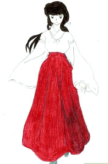 Prent getiteld Teken Kikyo van Inuyasha Stap 8