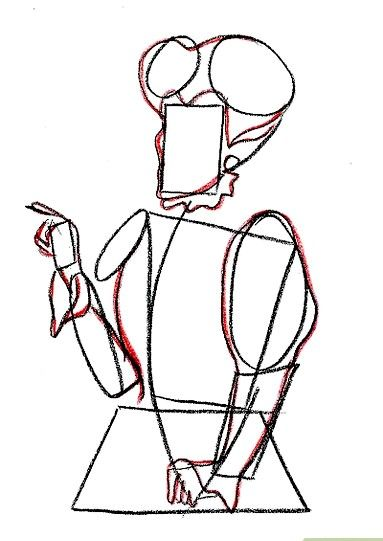 Prent getiteld Teken Lady Tremaine van Cinderella Stap 5