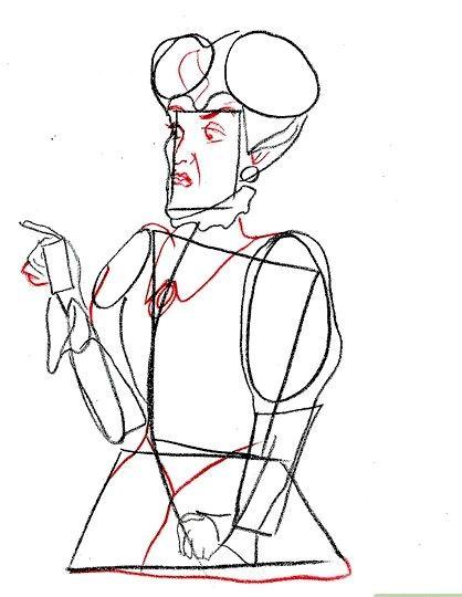 Prent getiteld Teken Lady Tremaine van Cinderella Stap 6