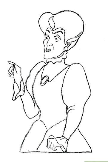 Prent getiteld Teken Lady Tremaine van Cinderella Stap 7