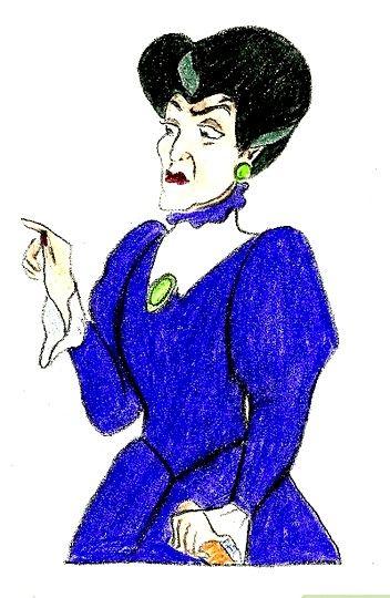 Prent getiteld Teken Lady Tremaine van Cinderella Stap 8