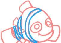 Prent getiteld Teken Nemo Skin Marks Stap 4