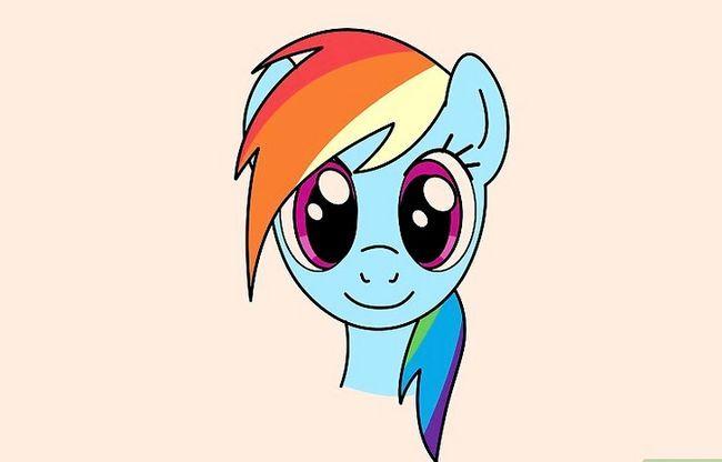 Prent getiteld Teken Rainbow Dash Stap 9