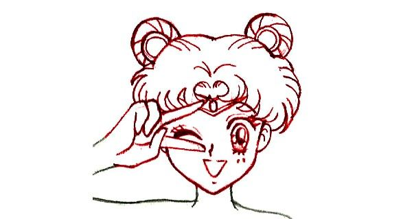 Prent getiteld Teken Sailor Moon Step 4