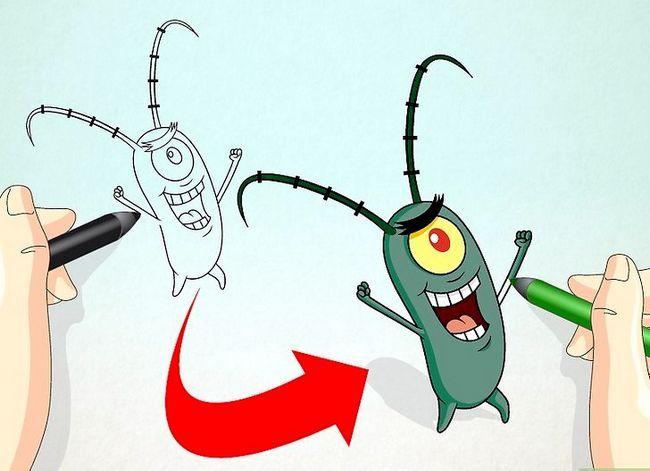 Prent getiteld Teken Sheldon J. Plankton van SpongeBob SquarePants Stap 10