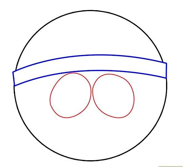 Prent getiteld Twee Ovals vir die Oë Stap 3