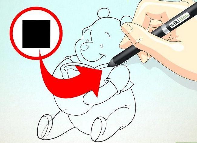 Prent getiteld Teken Winnie the Pooh Stap 14