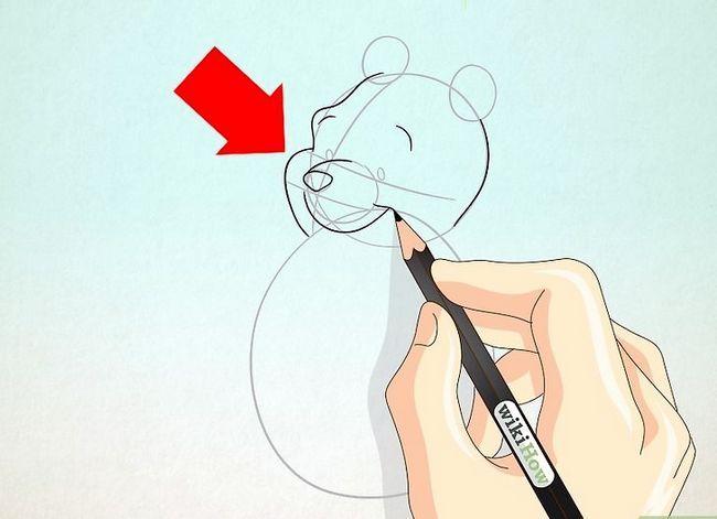 Prent getiteld Teken Winnie the Pooh Stap 9
