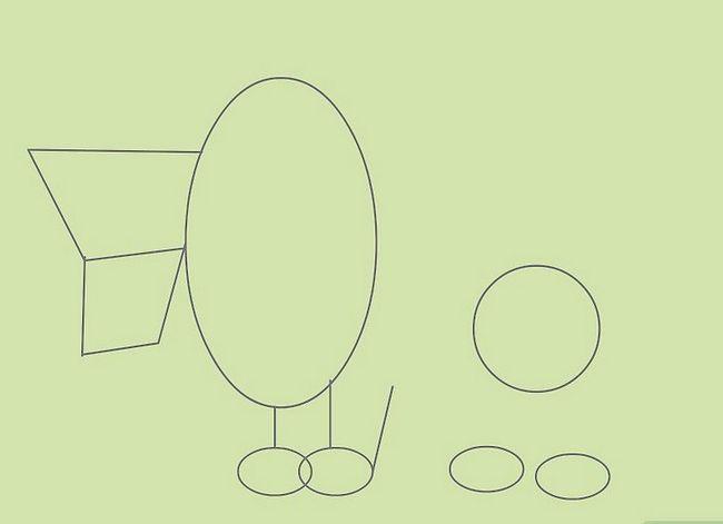 Prent getiteld Teken Cartoon Diere Stap 6