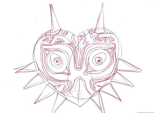 Prent getiteld Teken Majora`s Mask from the Legend of Zelda Step 6