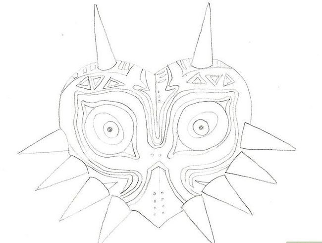 Prent getiteld Teken Majora`s Mask from the Legend of Zelda Step 7
