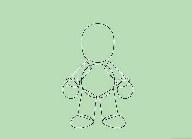 Prent getiteld Teken Mario karakters Stap 4