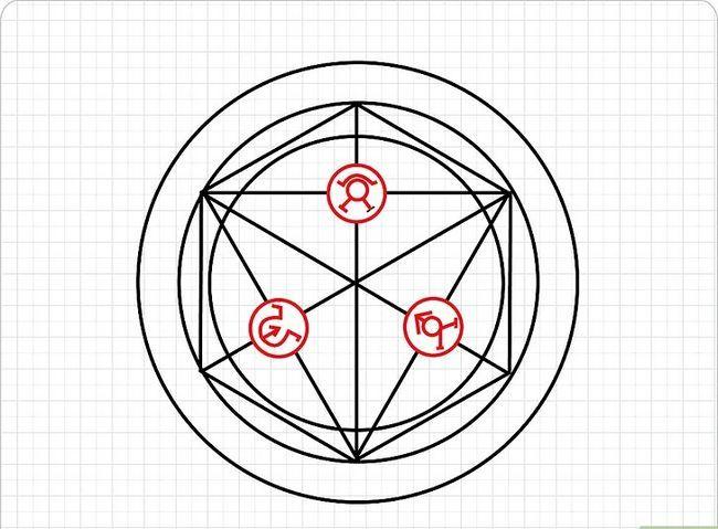 Prent getiteld Teken `n Transmutasie Sirkel Stap 5