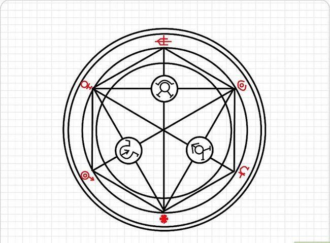 Prent getiteld Teken `n Transmutasie Sirkel Stap 6