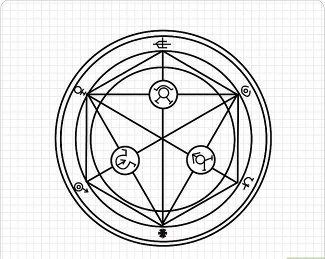 Prent getiteld Teken `n Transmutation Circle Intro