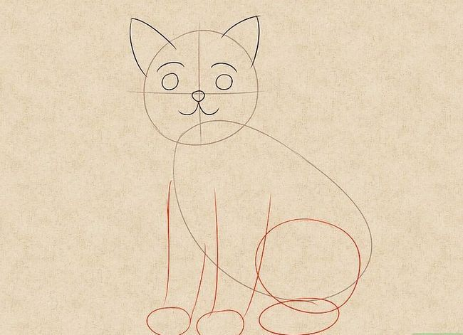 Prent getiteld Teken `n kat Stap 3