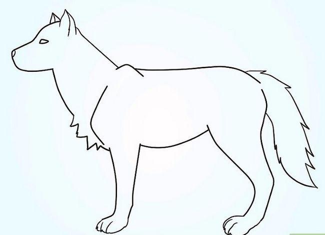 Prent getiteld Teken `n Fluffy Crested Wolf Stap 8