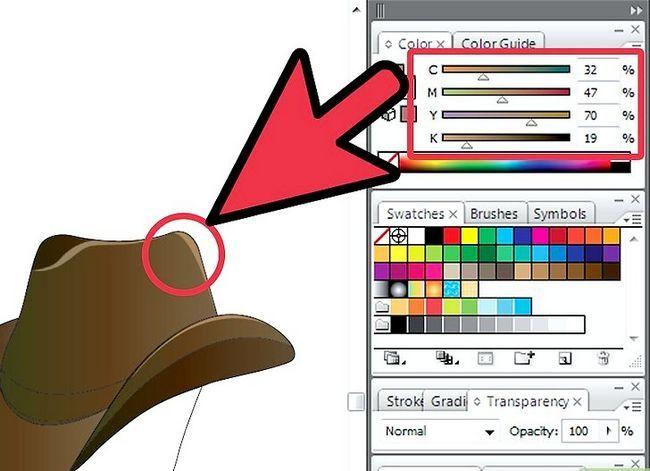 Prent getiteld Teken `n Cowboy-hoed in Adobe Illustrator CS3 Stap 6