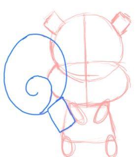 Prent getiteld Teken Chibi Squirrel Tail Stap 5