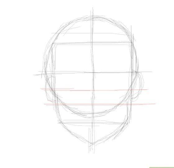 Prent getiteld Verrassende gesig ooglyn neuslyn Stap 5