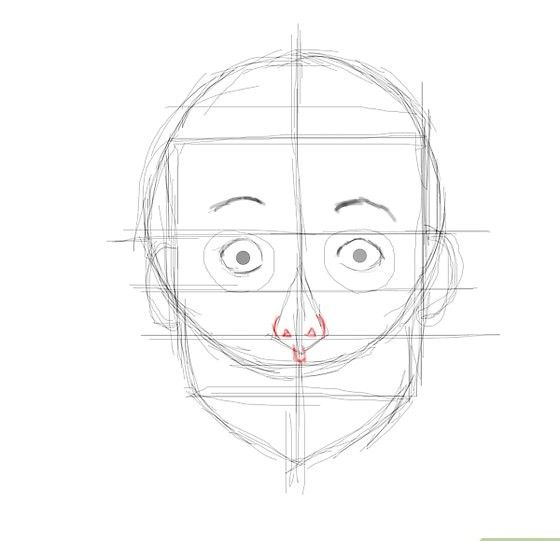 Prent getiteld Verrassende gesig neus Stap 8