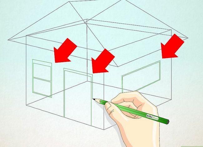 Prent getiteld Teken `n eenvoudige huis Stap 14