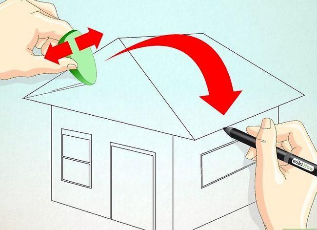 Prent getiteld Teken `n eenvoudige huis Stap 15