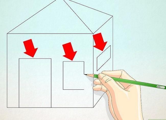Prent getiteld Teken `n eenvoudige huis Stap 23