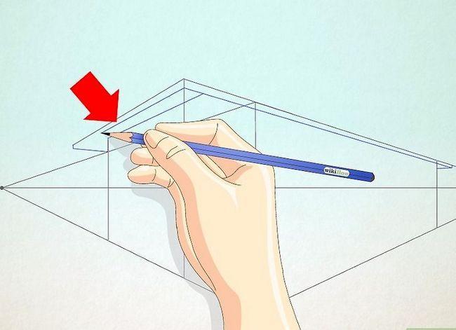 Prent getiteld Teken `n eenvoudige huis Stap 6