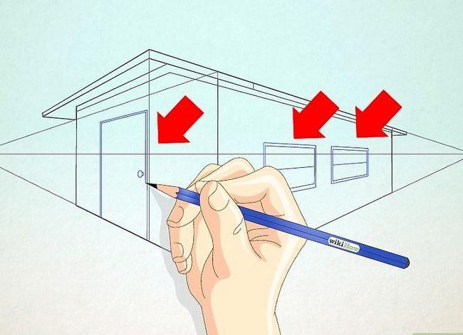 Prent getiteld Teken `n eenvoudige huis Stap 8