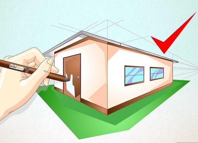 Prent getiteld Teken `n eenvoudige huis Stap 10