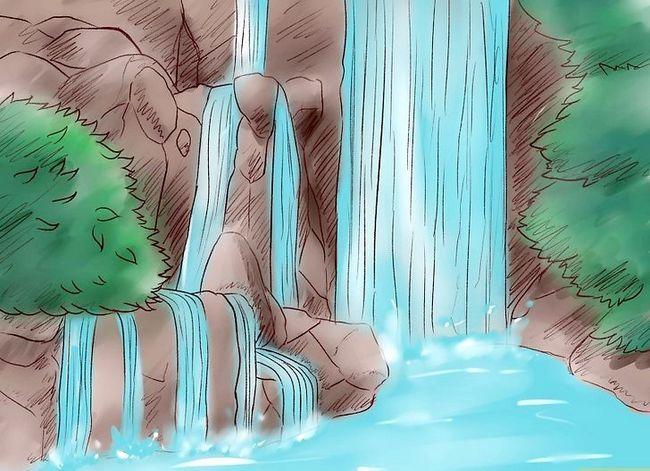 Prent getiteld Teken `n waterval Stap 16