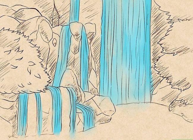 Prent getiteld Teken `n waterval Stap 15