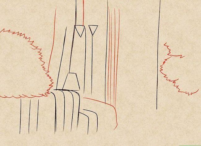 Prent getiteld Teken `n waterval Stap 11