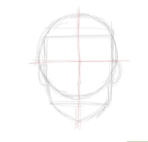 Prent getiteld Embarassed face center line Stap 4
