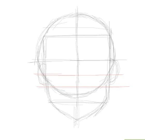 Prent getiteld Gekleurde gesig ooglyn neuslyn Stap 5