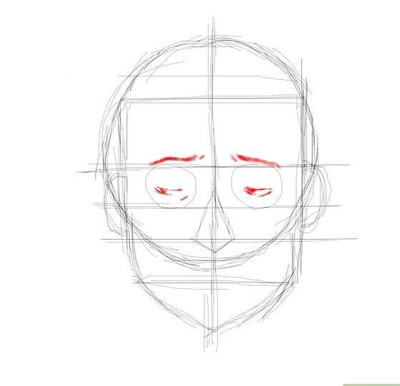Prent getiteld Embarassed face eyes Stap 7