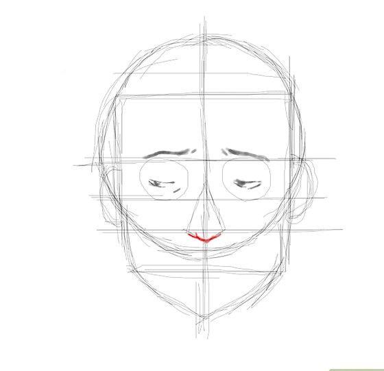 Prent getiteld Embarassed face nose Stap 8