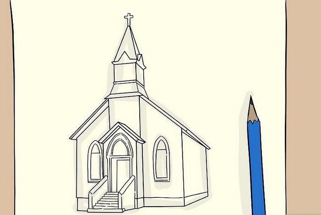 Prent getiteld Teken `n kerk Stap 5