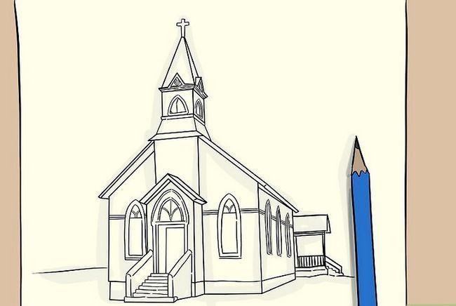 Prent getiteld Teken `n kerk Stap 6