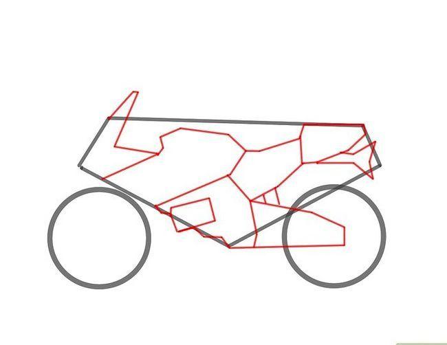 Prent getiteld Teken `n motorfiets stap 3