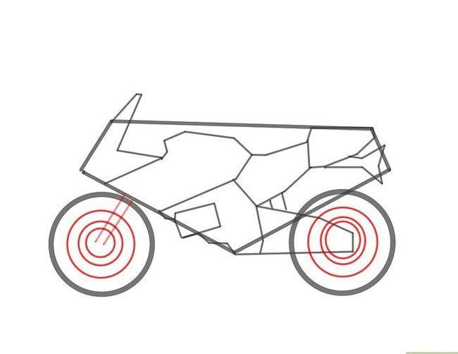 Prent getiteld Teken `n motorfiets Stap 4