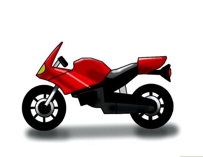 Prent getiteld Teken `n motorfiets Stap 6