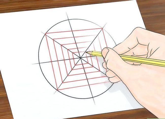 Prent getiteld Teken `n Spider Web Stap 12