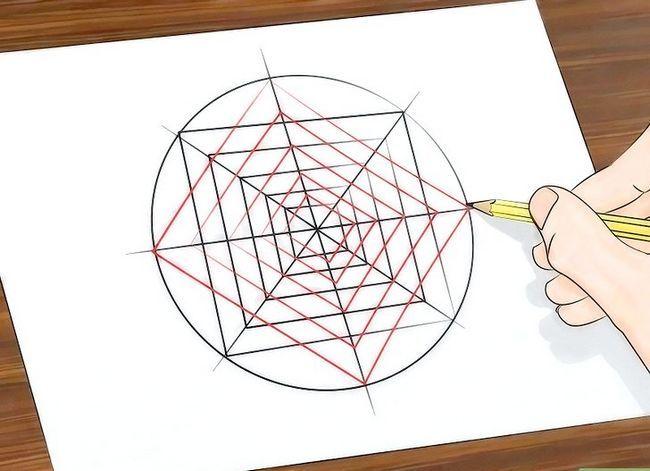 Prent getiteld Teken `n Spinnekop Web Stap 13